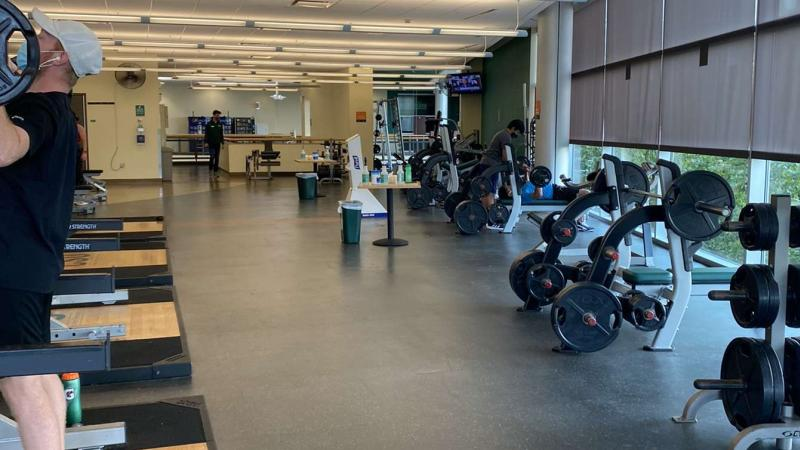 Cleveland State's Rec Center uses social distancing and sanitation stations to help keep a safe environment to work out.