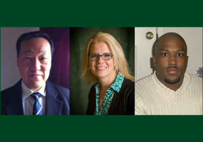 Cleveland State University professors Chansu Yu, Ph.D., Debbie Jackson, Ed.D., and Brian Harper Ph.D., J.D.
