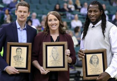 The CSU Viking Athletics 2019 Hall of Fame class: Phil Orno, Tennis (left); Kailey Klein, Women's Basketball (center), and J'Nathan Bullock, Men's Basketball.