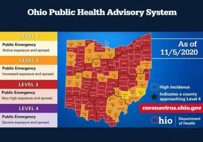 Ohio public health advisory system coronavirus alert map