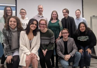 Professor Eric Schearer, Ph.D. (back row, third from left), faculty member in the CSU department of engineering with his students from the course sequence he designed on technology, disabilities and empathy.