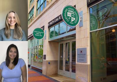 Lauren Brooks (top) and Jacquelyn Wilson in a collage showing the outside of CSU's school of film and media arts.